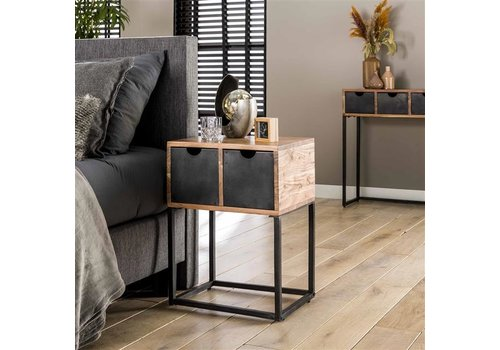 Industrial bedside table Catch - Acacia Wood