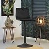 Velvet bar stool Frankie Black height adjustable