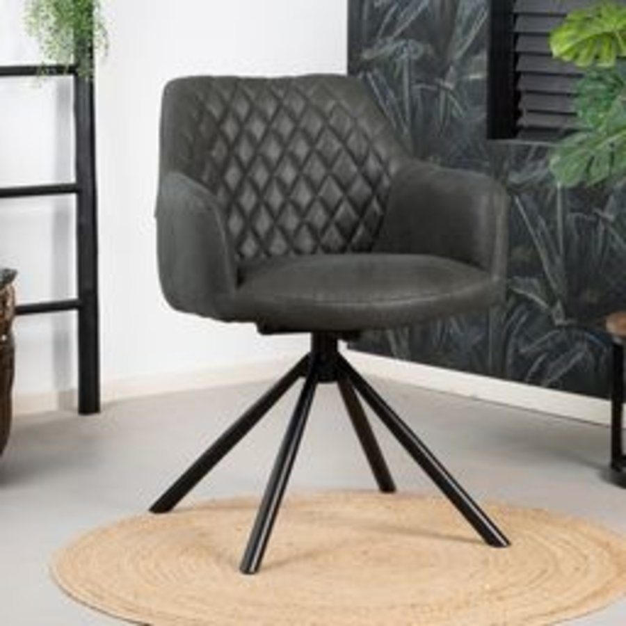 Industrial dining room chair Dex Black eco-leather