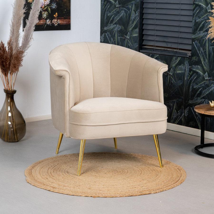 Velvet Armchair Amy Beige
