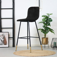 Velvet bar stool Mikky Black height adjustable