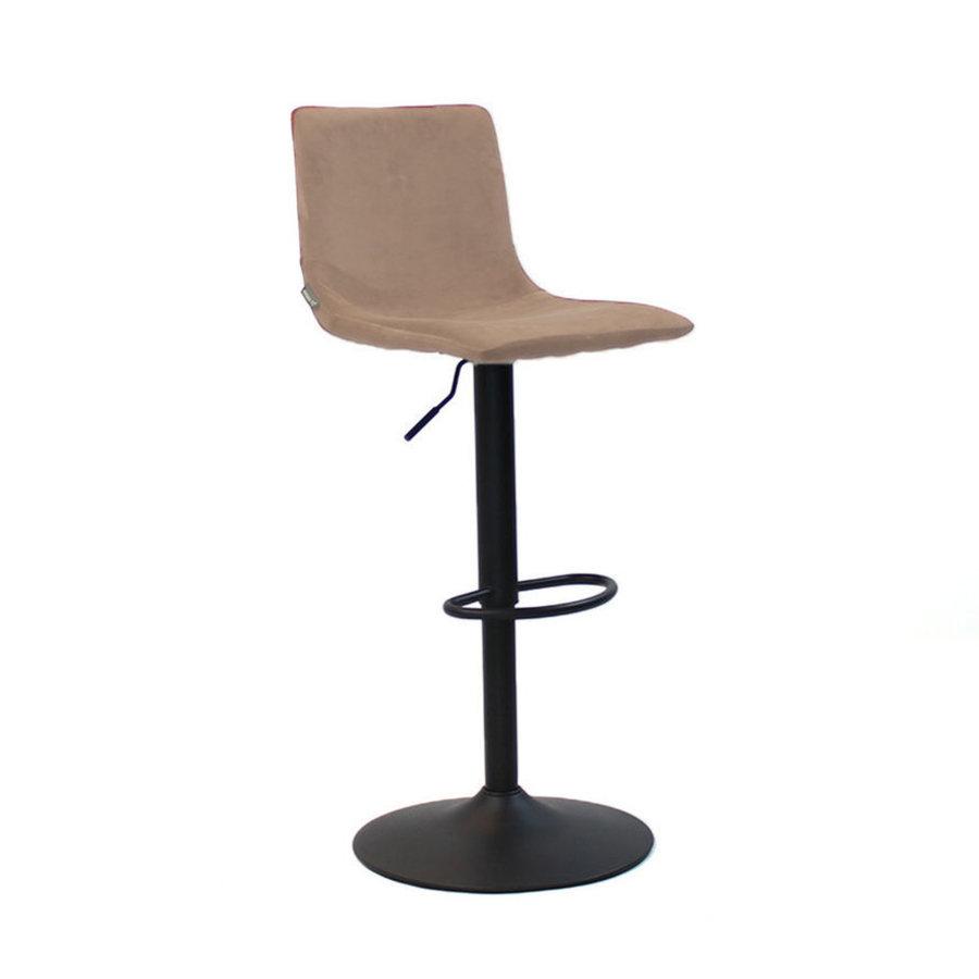 Velvet bar stool Frankie Taupe height adjustable