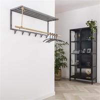 Coatrack metal bamboo Adam hat shelf 6 hooks