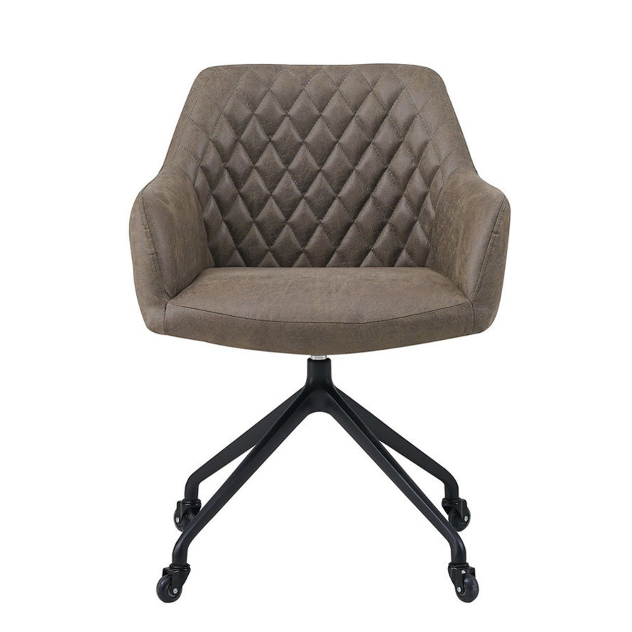 Industrial dining chair Levi olive green eco-leather (wheels)