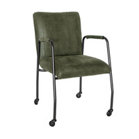Industrial dining chair Mila Olive Green eco-leather (wheels)