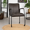 Industrial dining chair Mila Anthracite eco-leather (wheels)
