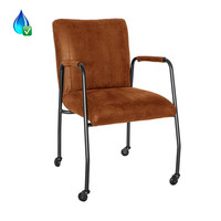 Industrial dining chair Mila Cognac eco-leather (wheels)