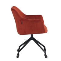 Industrial dining chair Quinn velvet Copper (wheels)