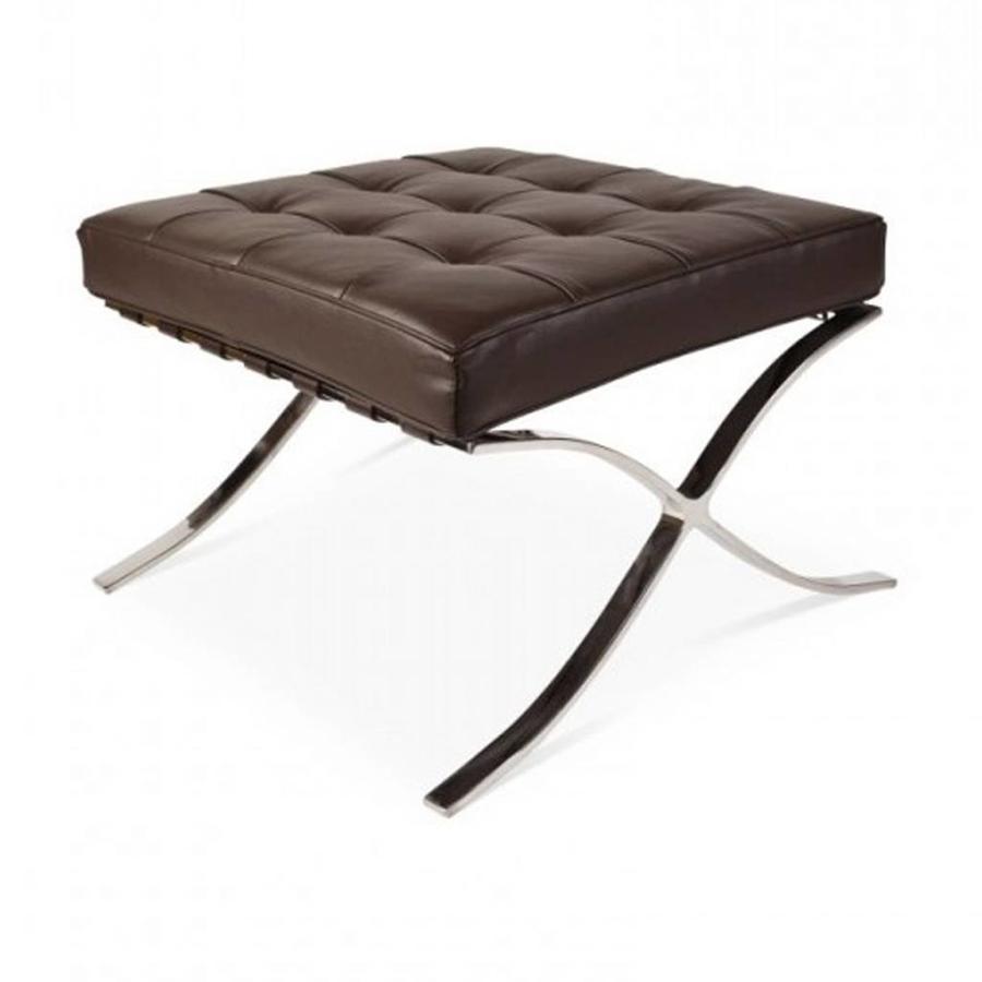 Barcelona Ottoman Brown - Premium Leather