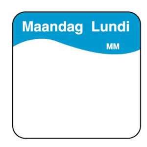 Daymark Vol. oplosbare sticker maandag 25 mm 500/rol