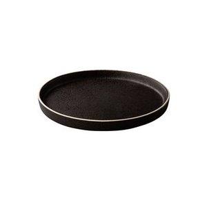 Q RAW Bristol zwart tweezijdig bord 17cm opstaande rand