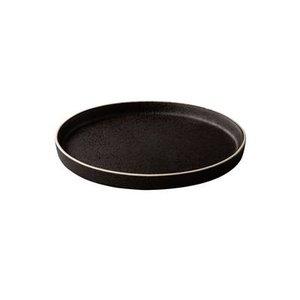 Q RAW Bristol zwart tweezijdig bord 22cm opstaande rand