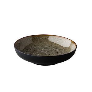 Q Authentic Diep bord Speckle reactive grijs 22 cm