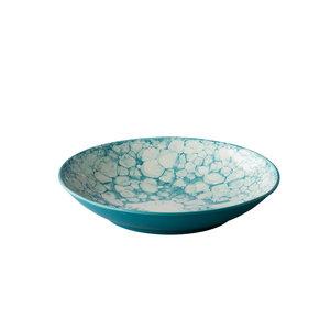 Q Authentic Diep bord Bubble turquoise 25,5 cm