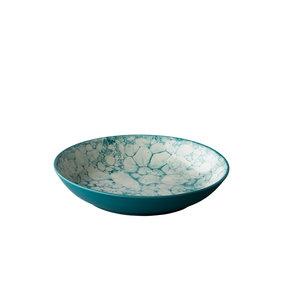 Q Authentic Diep bord Bubble turquoise  21 cm