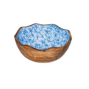 Non Food Company Houten kom blauwe bloem Ø30x11 cm