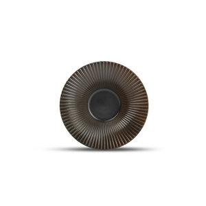F2D F2D | Brass Diep bord 20,5xH5cm gestreept silver