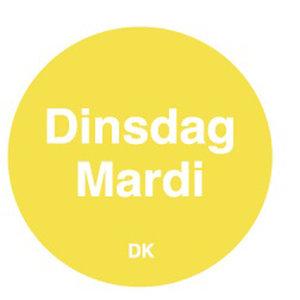 Daymark Permanente sticker dinsdag 19 mm 1000/rol