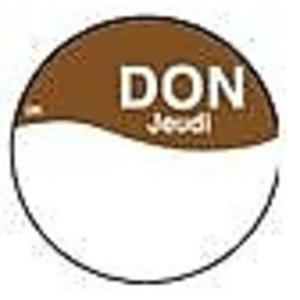 Daymark Perm. sticker m/schrijfvl. donderdag 19mm 1000/rol
