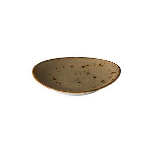 Q Authentic Ovaal bord reactive sand 21,5 x 19 cm