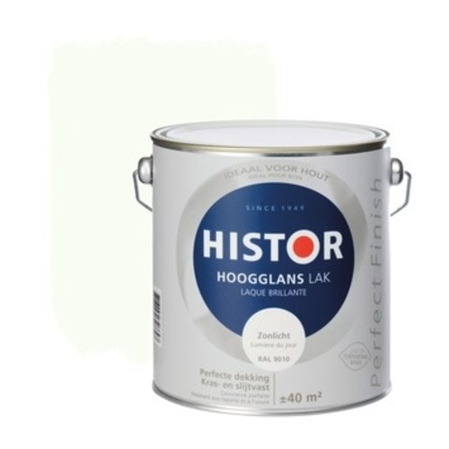 Histor Perfect Finish Lak Hoogglans 2,5l Zonlicht (RAL 9010)