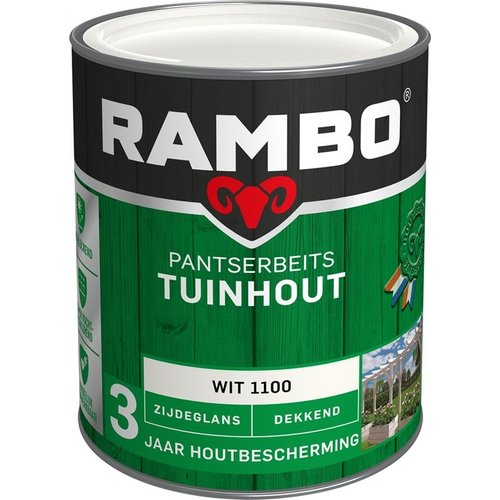 Rambo Pantserbeits Tuinhout Zijdeglans Dekkend - 750 ml Wit