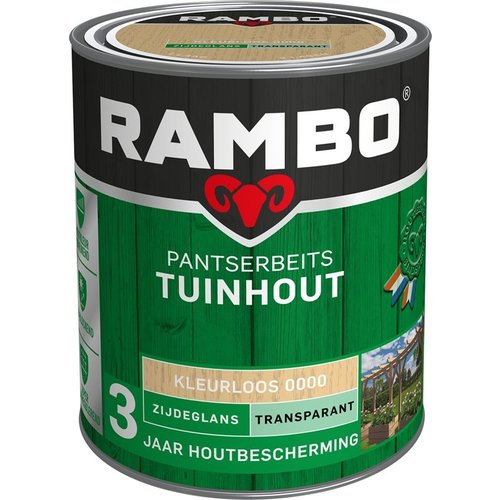 Rambo Pantserbeits Tuinhout Zijdeglans Transparant - 750 ml Blank
