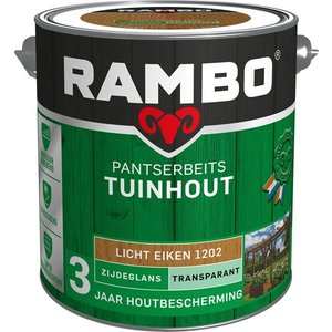 Rambo Pantserbeits Tuinhout Zijdeglans Transparant - 2,5 liter Licht eiken