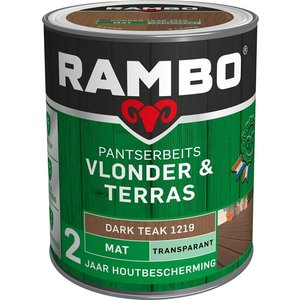 Rambo Pantserbeits Vlonder & Terras Mat Transparant - 1 liter Dark teak