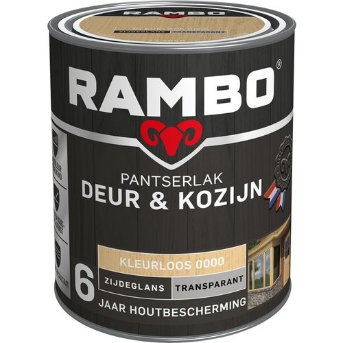 Rambo Pantserlak Deur & Kozijn Zijdeglans Transparant - 750 ml Blank