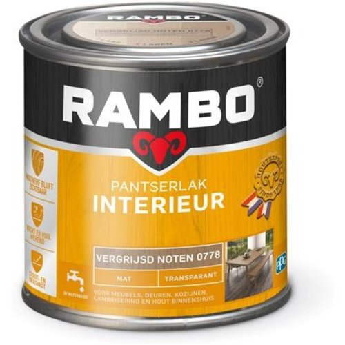 Rambo Pantserlak Interieur Transparant Mat - 250 ml Vergrijsd noten