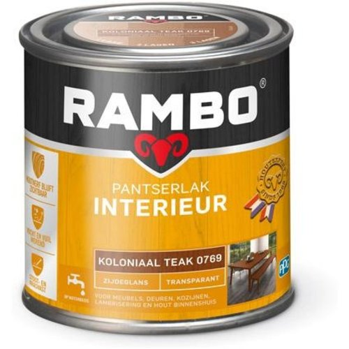 Rambo Pantserlak Interieur Transparant Zijdeglans - 250 ml Koloniaal teak
