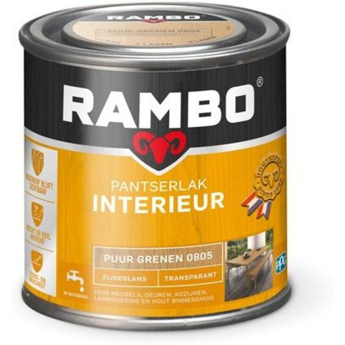 Rambo Pantserlak Interieur Transparant Zijdeglans - 250 ml Puur grenen