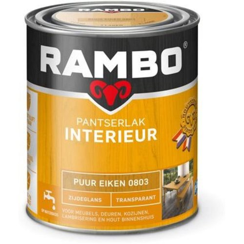 Rambo Pantserlak Interieur Transparant Zijdeglans - 750 ml Puur eiken