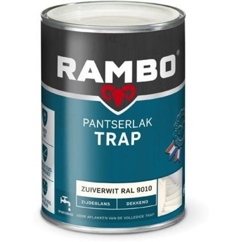 Rambo Pantserlak Trap Dekkend Zijdeglans - 1,25 liter ml Zuiverwit Ral 9010