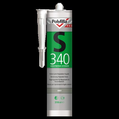Polyfilla Pro S340 Buitenvoeg Reparatiepasta - 310 ml Donkergrijs