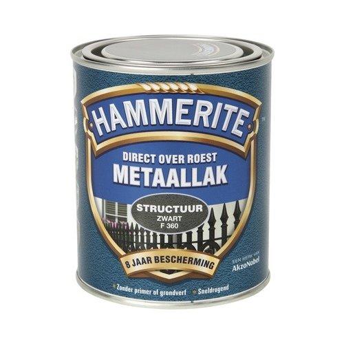 Hammerite Metaallak Direct over Roest Structuur - F360 Zwart