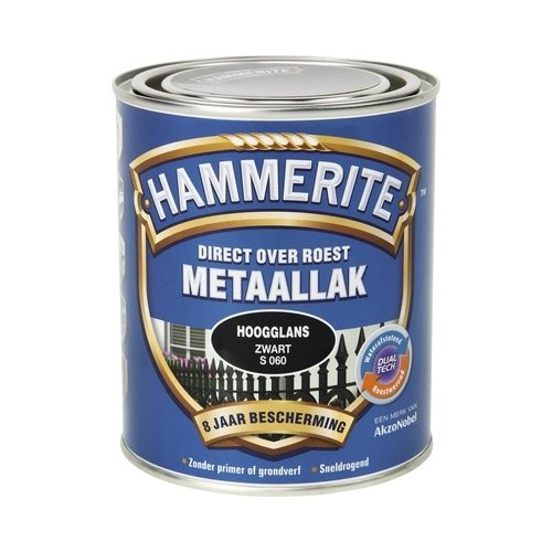 Hammerite Metaallak Direct over Roest Hoogglans - S060 Zwart
