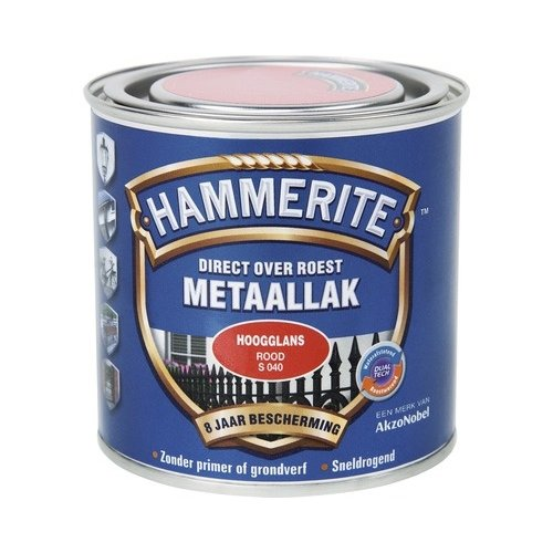 Hammerite Metaallak Direct over Roest Hoogglans - S040 Rood