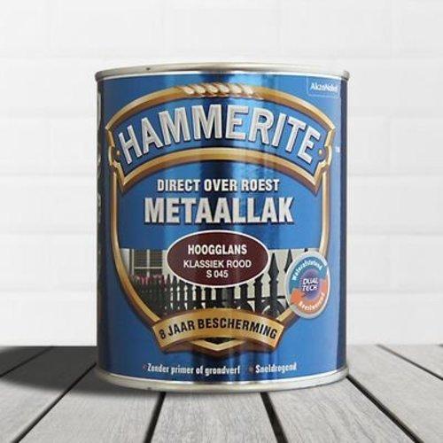 Hammerite Metaallak Direct over Roest Hoogglans - S045 Klassiek Rood