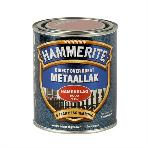 Hammerite Metaallak Direct over Roest Hamerslag - H140 Rood