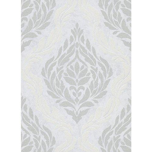 Dutch Wallcoverings Behang Carat Deluxe Medaillon Wit/Zilver 10060-31