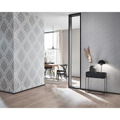 Dutch Wallcoverings Behang Carat Deluxe Medaillon Wit/Zilver 10060-14