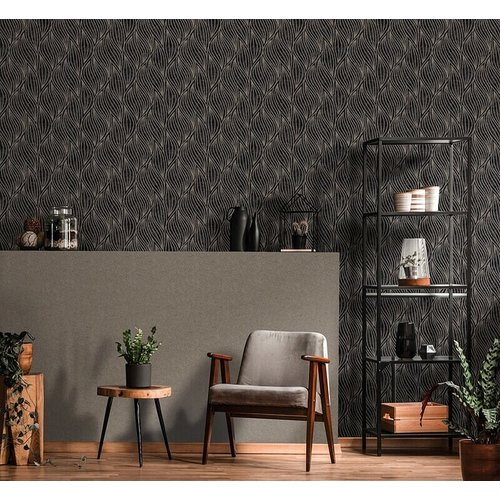 Dutch Wallcoverings Behang Carat Deluxe Dessin Antraciet/Zilver 10063-37