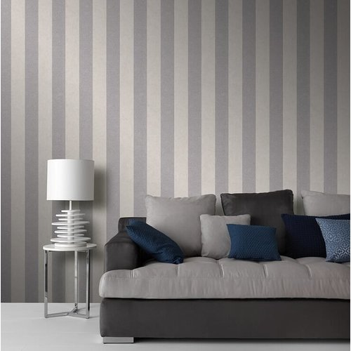Dutch Wallcoverings Behang Carat Deluxe Streep Beige/Zilver 10077-02