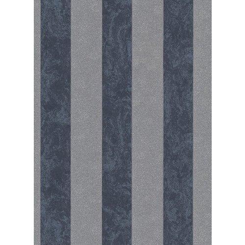 Dutch Wallcoverings Behang Carat Deluxe Streep Antraciet/Zilver 10077-37