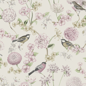 Dutch Wallcoverings Behang Escapade Bloem/Vogel Wit/Roze L788-03