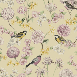 Dutch Wallcoverings Behang Escapade Bloem/Vogel Geel/Roze L788-02