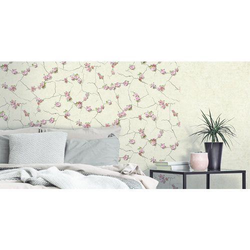 Dutch Wallcoverings Behang Escapade Beton/Bloem Beige/Roze L787-07