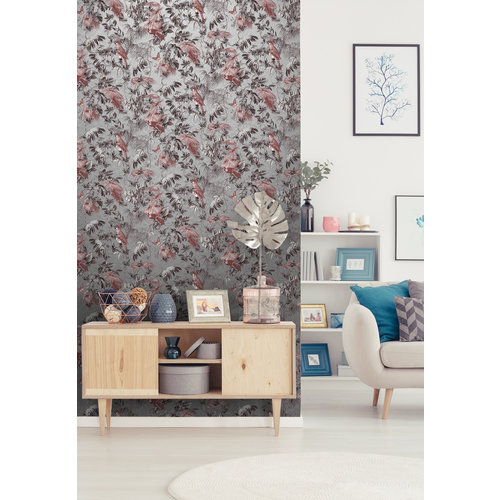 Dutch Wallcoverings Behang Escapade Palm/Vogel Zilver L698-08